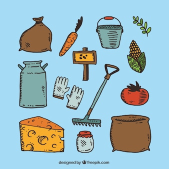 Collection of hand drawn farm products