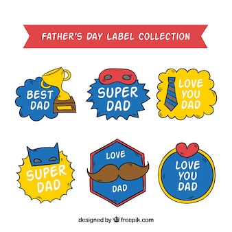Collection of hand drawn father's day stickers