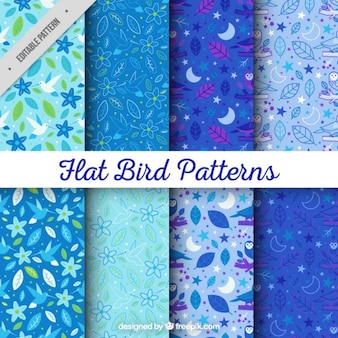 Collection of hand drawn floral and leaves pattern in blue tones