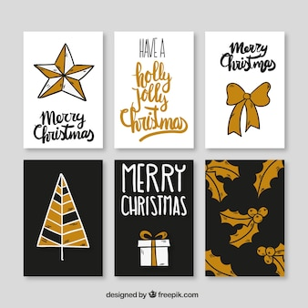 Collection of hand drawn golden christmas cards