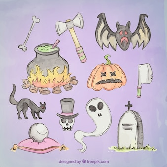 Collection of hand drawn halloween elements