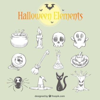 Collection of hand-drawn halloween elements