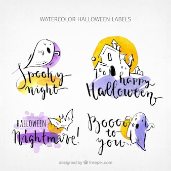 Collection of hand-drawn halloween stickers