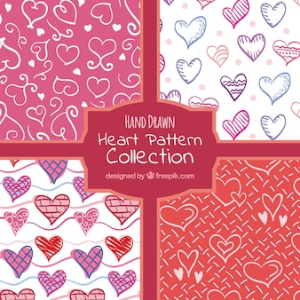 Collection of hand drawn hearts patterns
