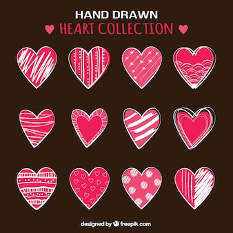 Collection of hand drawn hearts