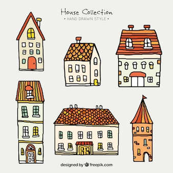 Collection of hand-drawn houses