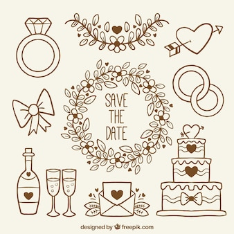 Collection of hand-drawn items for weddings