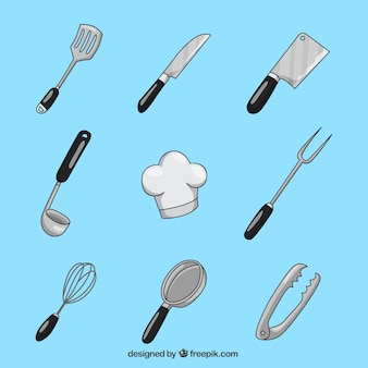 Collection of hand-drawn kitchen utensil