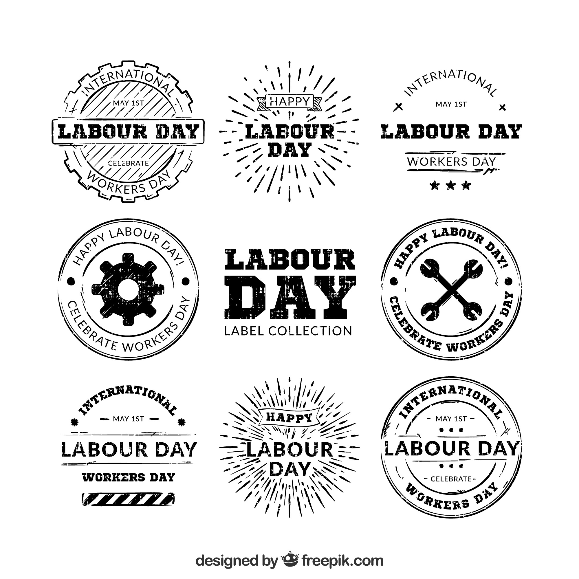 Collection of hand drawn labour day logos