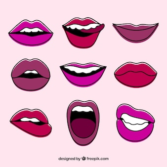 Collection of hand-drawn lips
