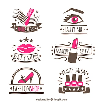 Collection of hand-drawn logos for beauty salon
