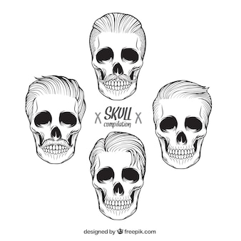 Collection of hand drawn male skulls