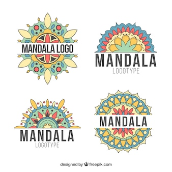 Collection of hand drawn mandalas logos