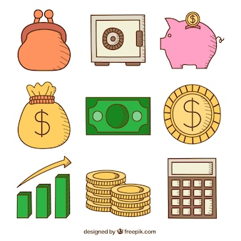Collection of hand drawn money elements