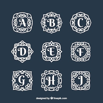 Collection of hand drawn monograms