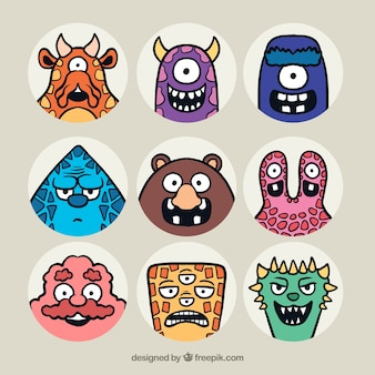 Collection of hand drawn monster avatar