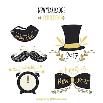Collection of hand drawn objects new year