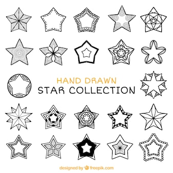 Collection of hand-drawn ornamental stars