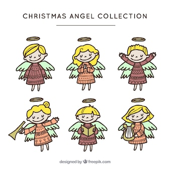 Collection of hand drawn pretty little angels