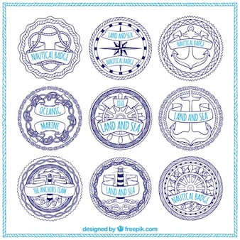 Collection of hand drawn sailing badge