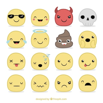 Collection of hand drawn smileys