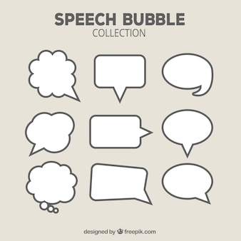Collection of hand drawn speech bubble