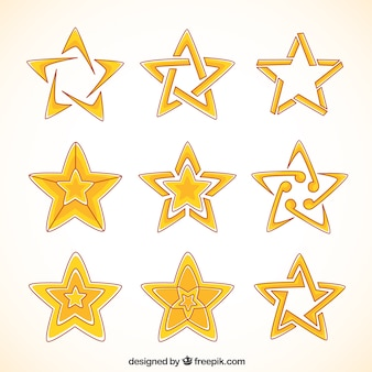 Collection of hand-drawn stars with abstract designs