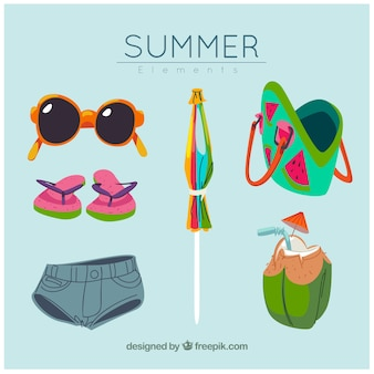 Collection of hand-drawn summer accessories