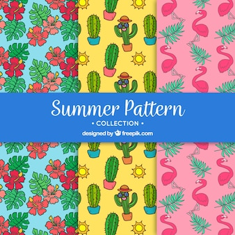 Collection of hand drawn summer pattern