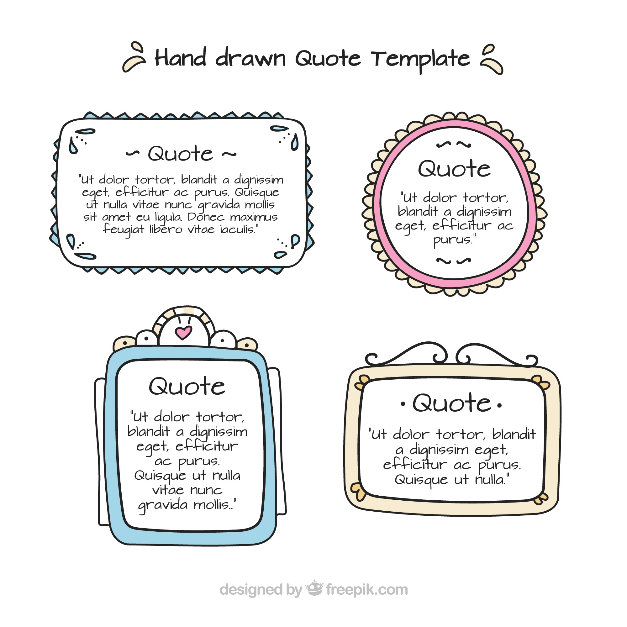 Collection of hand drawn templates for quotes