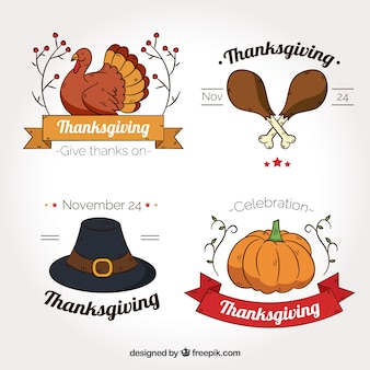 Collection of hand drawn thanksgiving badges