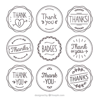 Collection of hand drawn thanksgiving retro stickers