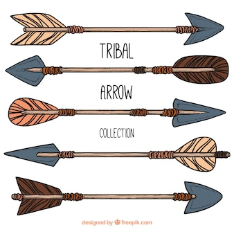 Collection of hand drawn tribal arrows