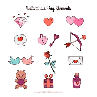 Collection of hand drawn valentine's day elements