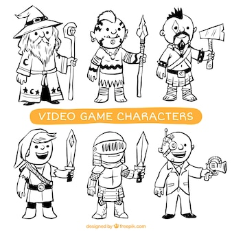Collection of hand-drawn video game characters