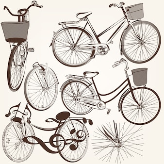 Collection of hand drawn vintage bicycles