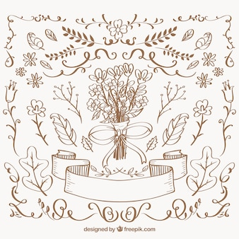 Collection of hand drawn vintage floral elements