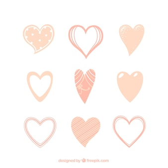 Collection of hand drawn vintage hearts