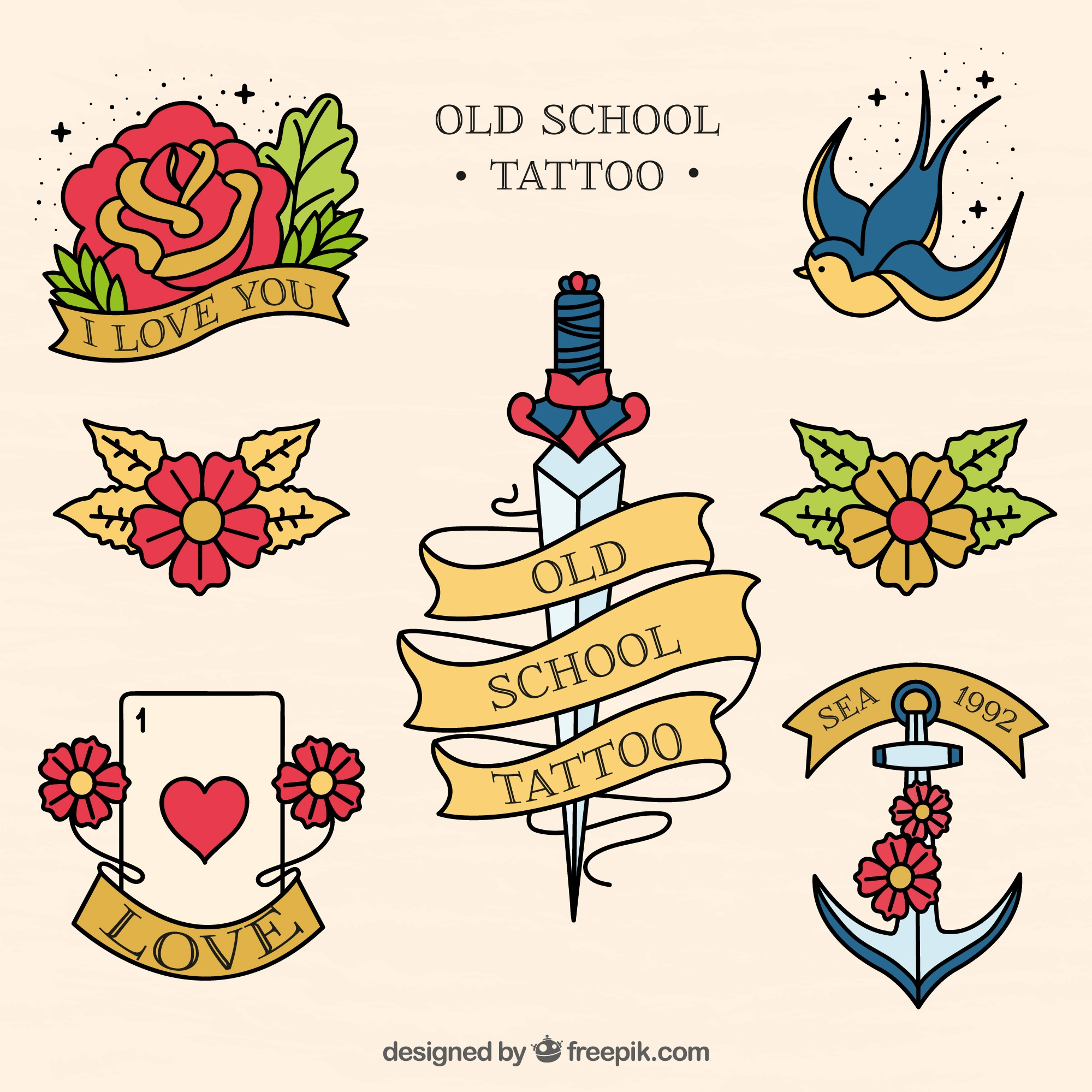 Collection of hand drawn vintage tattoo