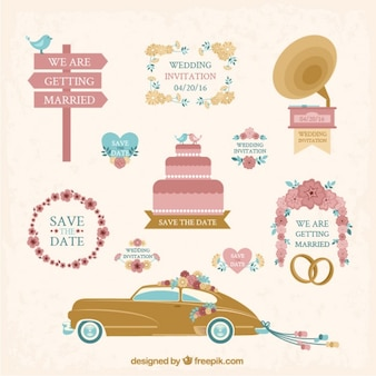 Collection of hand drawn vintage wedding element