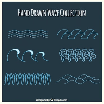 Collection of hand-drawn waves