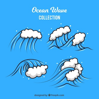 Collection of hand drawn waves