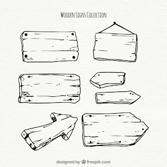 手描きの木製のサインのコレクション