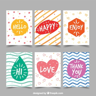 Collection of hand painted colorful abstract greeting card