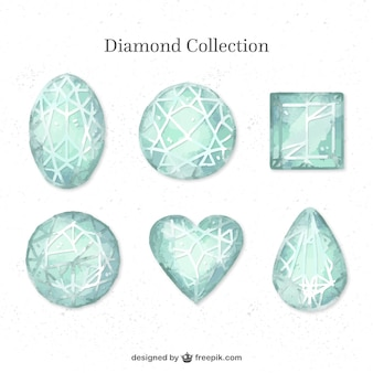 Collection of hand-painted diamonds with different designs