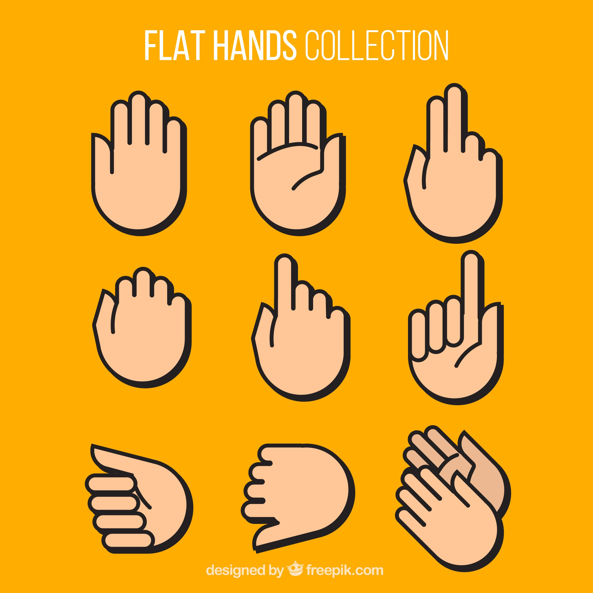 Collection of hands in flat design