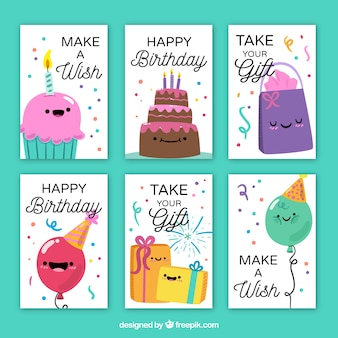 Collection of happy birthday cards with nice characters