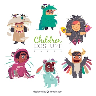 Collection of happy children wearing costumes