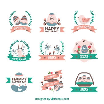 Collection of happy easter decorative stickers