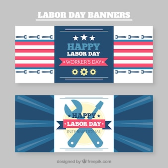 Collection of happy labour day banners